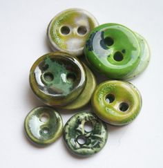 A Green Selection of Ceramic Buttons by buttonalia on Etsy, $22.50
