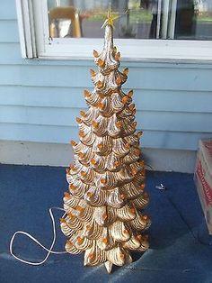 vntg xl 3pc ceramic christmas tree gold tone rare htf 32 tall atlantic mold euc
