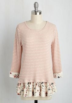 Swatch Shopping Top - Stripes, Work, Fairytale, 3/4 Sleeve, Knit, Best, Scoop, Mid-length, Casual, Red, Pink