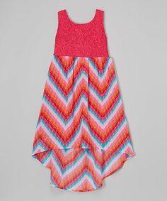 Pink Chevron Lace Hi-Low Dress - Girls