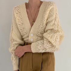 nsane vintage ivory pearlescent fuzzy knit cardigan with balloon sleeves. Incredible detailing and fit. Modest Fashion, Fashion Outfits, Womens Fashion, Fashion Fashion, Stylish Outfits, Cool Outfits, Classy Outfits, Accesorios Casual, Fashion Seasons