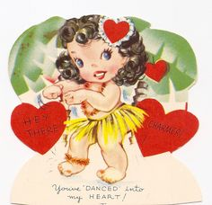 vintage Hawaiian valentine * 1500 free paper dolls at Arielle Gabriel's The International Paper Doll Society also at The China Adventure of Arielle Gabriel free paper dolls * My Funny Valentine, Valentine Images, Valentine Greeting Cards, Vintage Valentine Cards, Vintage Greeting Cards, Vintage Holiday, Vintage Postcards, Happy Valentines Day, Valentine Stuff