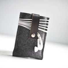 Wool felt and leather iphone case.