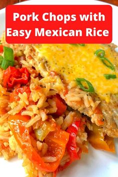 A tasty Mexican rice with pork chops recipe the whole family will love. Uses your favorite salsa for a burst of flavor- perfect for a quick week night meal. Pork Chop Recipes, Meat Recipes, Low Carb Recipes, Dinner Recipes, Cooking Recipes, Diabetic Meal Plan, Diabetic Recipes, Healthy Recipes