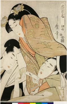 Colour woodblock print. First composition of twelve designs. Villain Ko no Moronao in bottom right-hand corner, infatuating with Enya Hangan's wife Kaoyo and trying to force love-letter on her; Kaoyo herself above, starting back in dismay;  young lord Momoi Wakasanosuke at bottom left, coming to her aid. Nishiki-e on paper. Inscribed, signed, sealed and marked.