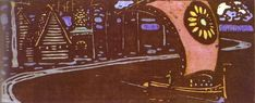 The golden sail Artist: Wassily Kandinsky Completion Date: 1903 Place of Creation: Munich / Monaco, Germany Style: Expressionism Genre: marina Technique: woodcut Dimensions: 12.7 x 29.7 cm Gallery: Städtische Galerie im Lenbachhaus, Munich, German
