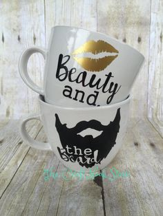 Beauty and the Beard  Couple Mug set  by TheCraftNookStore on Etsy