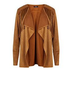 Plus Size Tan Suedette Fringed Jacket  | New Look