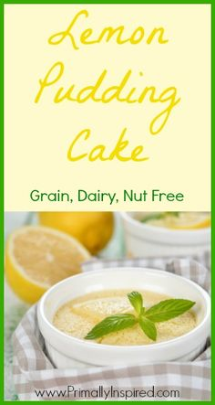 Lemon Pudding Cake (Paleo, Grain, Nut, Dairy Free) - Primally Insipired www.primallyinspired.com