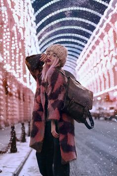 Get this look: http://lb.nu/look/8541083  More looks by Septembrenell: http://lb.nu/septembrenell  Items in this look:  Asiongling Coat, E Manco Sweater & Pants, Uniwigs Wig, Bag, Hat   #casual #chic #street