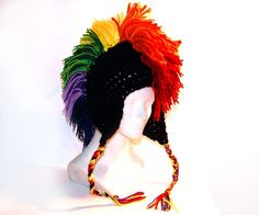 Rainbow/Black Mohawk Hat