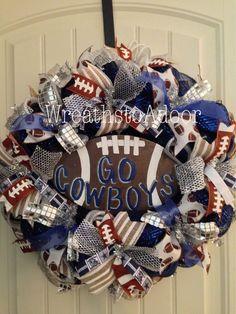 Dallas Cowboys mesh wreath www.facebook.com/wreathstoadoor