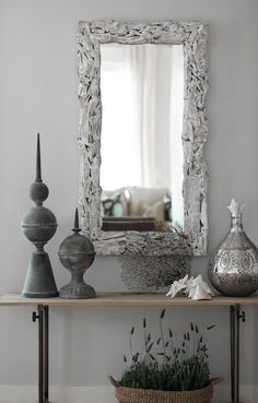 ♅ Dove Gray Home Decor ♅  grey entry hall table and mirror