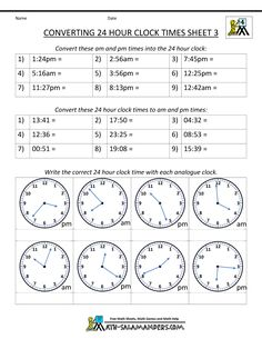 24 hour clock worksheets sheet 1. Convert times between 12 and 24 ...