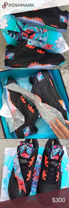 NWB  JORDAN 5 lows CHINESE NEW YEARS size 13 men New never worn. Nike JORDAN RETRO LOW 5 'CHINESE NEW YEAR' ships in original box. ONE AVAILABLE.  All nylon upper.  BRAND NEW never worn! Ships same or next day, smoke free home.  Bundle items to save.   PRICE IS FIRM⚡️100% authentic Nike product purchased directly from NIKE Jordan Shoes Athletic Shoes