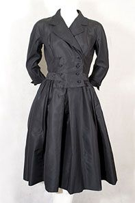 Filene's French Shop silk dress, 1950s.