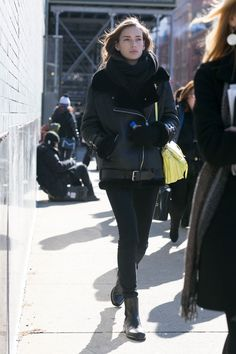 Incredible Model Street Style Outfits From New York Fashion Week - leather bomber + black winter boots