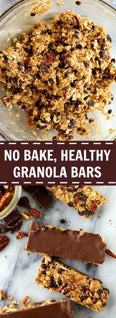 NO BAKE, CLEAN EATING, HEALTHY GRANOLA BARS. Super quick and delicious. Make a batch of these healthy granola bars during meal prep to snack on all week. All clean eating ingredients are used for this healthy snack recipe. No Bake Granola Bars, Healthy Granola Bars, Healthy Bars, Healthy Sweets, Clean Granola Bars, Clean Eating Granola, Healthy Snacks, Healthy Recipes, Delicious Recipes