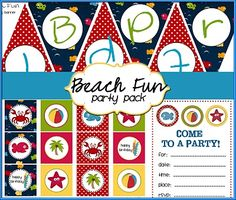 Beach Fun Party Pack - FREE PRINTABLES - This party pack contains digital files for 12 different Labels / Cupcake Toppers, Happy  Birthday Banner, Party Invitation, and blank customizable sheets