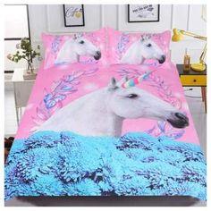 3d Unicorn Blanket Watercolor Sherpa Bed Kids Girl Flower bedspead