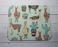 llamas Mouse Pad mousepad / Mat  round   Computer by Laa766  chic / cute / preppy / computer, desk accessories / cubical, office, home decor / co-worker, student gift / patterned design / match with coasters, wrist rests / computers and peripherals / feminine touches for the office / desk decor
