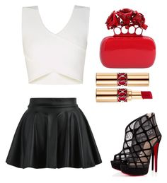 A fashion look from August 2015 featuring mini skirts, open toe shoes and red clutches. Browse and shop related looks. Yves Saint Laurent, Alexander Mcqueen, Christian Louboutin, Polyvore, Stuff To Buy, Outfits, Shopping, Collection, Design