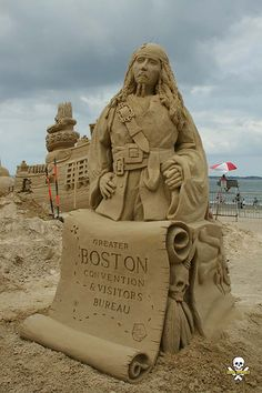 Jack Sparrow. My addition to the Revere Beach demo sculpture. I knew it was him as soon as I saw it!