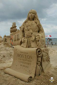 Jack Sparrow, Pirates of the Caribbean sand sculpture by Carl Jara