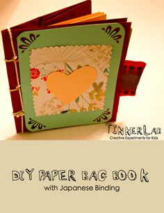 DIY Paper Bag Book with Japanese Binding {Free Download} I made these for a baby shower invitation