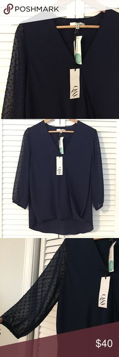 NWT Stitch Fix Q&A blouse Brand NWT Q&A brand from Stitch Fix top. Style : Vonna across Front Blouse. Navy blue in color. Sheer sleeves with textured polka dots. Cross front style. Longer in back. Stitch Fix Tops Blouses