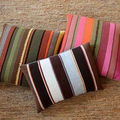 #Pink #brown #green #yellow #stripes #pillows #alpaca #frazada #pillows #homedecor
