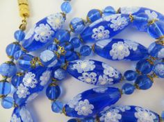 Gorgeous Vintage Blue White Italian Millefiore Glass Beads Necklace via Etsy