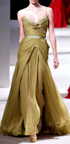 ELIE SAAB Haute Couture Spring 2011 | drape | chiffon chartreuse dress
