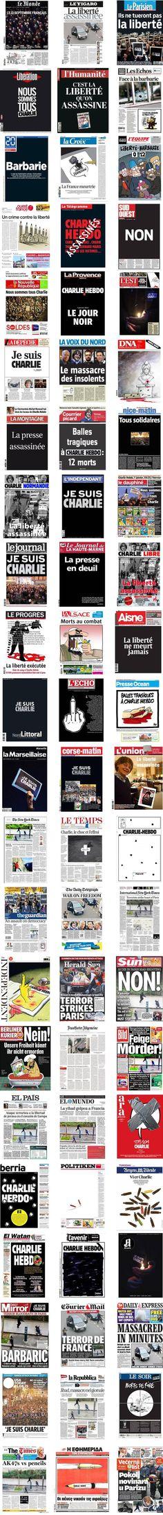 """EN IMAGES. Attentat à """"Charlie Hebdo"""" : 66 unes de journaux du monde entier http://www.francetvinfo.fr/faits-divers/attaque-au-siege-de-charlie-hebdo/en-images-attentat-a-charlie-hebdo-51-unes-de-journaux-du-monde-entier_791085.html #jesuischarlie"""