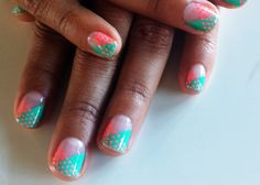 25 Funky coral + teal (?) green mani