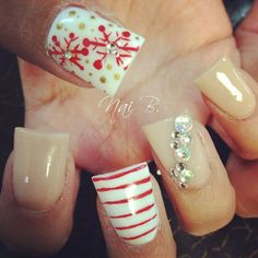 #christmas#nailart#gems#nude