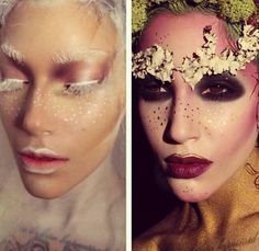 Fantasy editorial makeup snow white queen mother earth fairy #whitewonderland