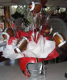 football party centerpiece balloons - but in Royal Blue - for DUKE! Football Party Centerpieces, Banquet Centerpieces, Birthday Party Centerpieces, Centerpiece Ideas, Table Decorations, Football Banquet, Football Themes, Football Parties, Football Decor