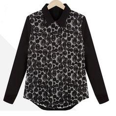 Black Hollow Pattern Lapel Neck Loose Chiffon Shirt