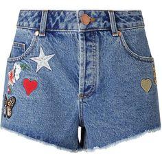 Miss Selfridge Badge Denim Short ($68) ❤ liked on Polyvore featuring shorts, bleached denim, jean shorts, miss selfridge, summer shorts, denim shorts and summer denim shorts