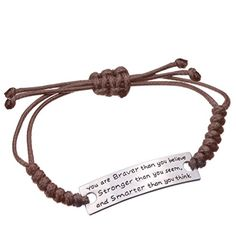 Angelus You are Braver than you believe Charming Little Inspirational Leather Bracelet Brown *** Learn more by visiting the image link.