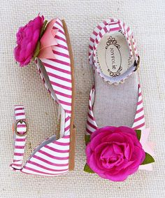 Look at this Pink & White Stripe Aubrey Flower Ankle-Strap Flat & Clip - Kids by Joyfolie Fashion Mode, Kids Fashion, Toddler Fashion, Fashion Shoes, Cute Shoes, Me Too Shoes, Comfy Shoes, Girls Shoes, Baby Shoes