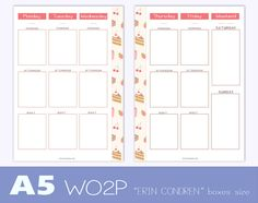 A5 size undated WEEK on TWO PAGES planner di TheLittlePlannerShop