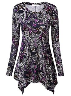 BAISHENGGT Womens Paisley Printed Handkerchief Hem Tunic Top Medium Purple >>> Read more reviews of the product by visiting the link on the image.(This is an Amazon affiliate link and I receive a commission for the sales)