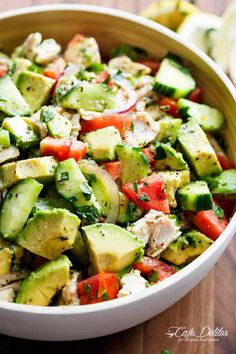 Chicken Cucumber Avocado Salad (NO COOK) - Cafe Delites