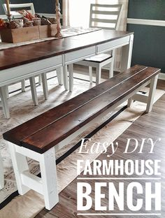 I love the look of various seating options at the dining room table – elegant chairs at the heads of the table, wooden c Table With Bench Seat, Diy Bench Seat, Farmhouse Table With Bench, Diy Dining Room Table, Kitchen Table Bench, Entryway Tables, Diy Dining Room Furniture, Built In Dining Room Seating, Concrete Furniture