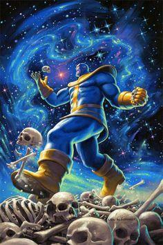 Thanos - Marvel Cover, Greg Hildebrandt Art Gallery, Selling Artwork, Comic Art, Fantasy Artwork, Painting, Game Character, Marvel Cinematic, Art, Cartoon