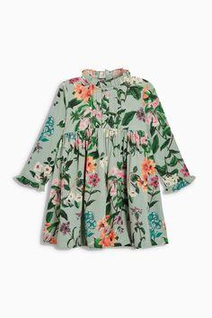 Mint Floral Frill Sleeve Dress | Next USA