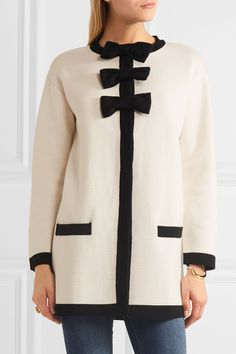 Boutique Moschino - Bow-embellished Wool And Cotton-blend Jacket - White - IT42