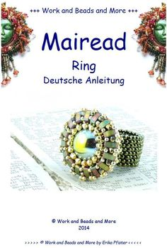 Mairead ring tutorial English PDF file by WorkAndBeadsAndMore Seed Bead Projects, Beading Projects, Beading Tutorials, Beading Patterns, Wire Jewelry, Beaded Jewelry, Beaded Bracelets Tutorial, Ring Tutorial, Beaded Rings